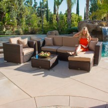 6 Pc Rattan Wicker Patio Sofa Set Sectional Garden Yard