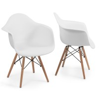 Set of 2 Eames DSW Style Arm Chair Armchair Legs Mid ...