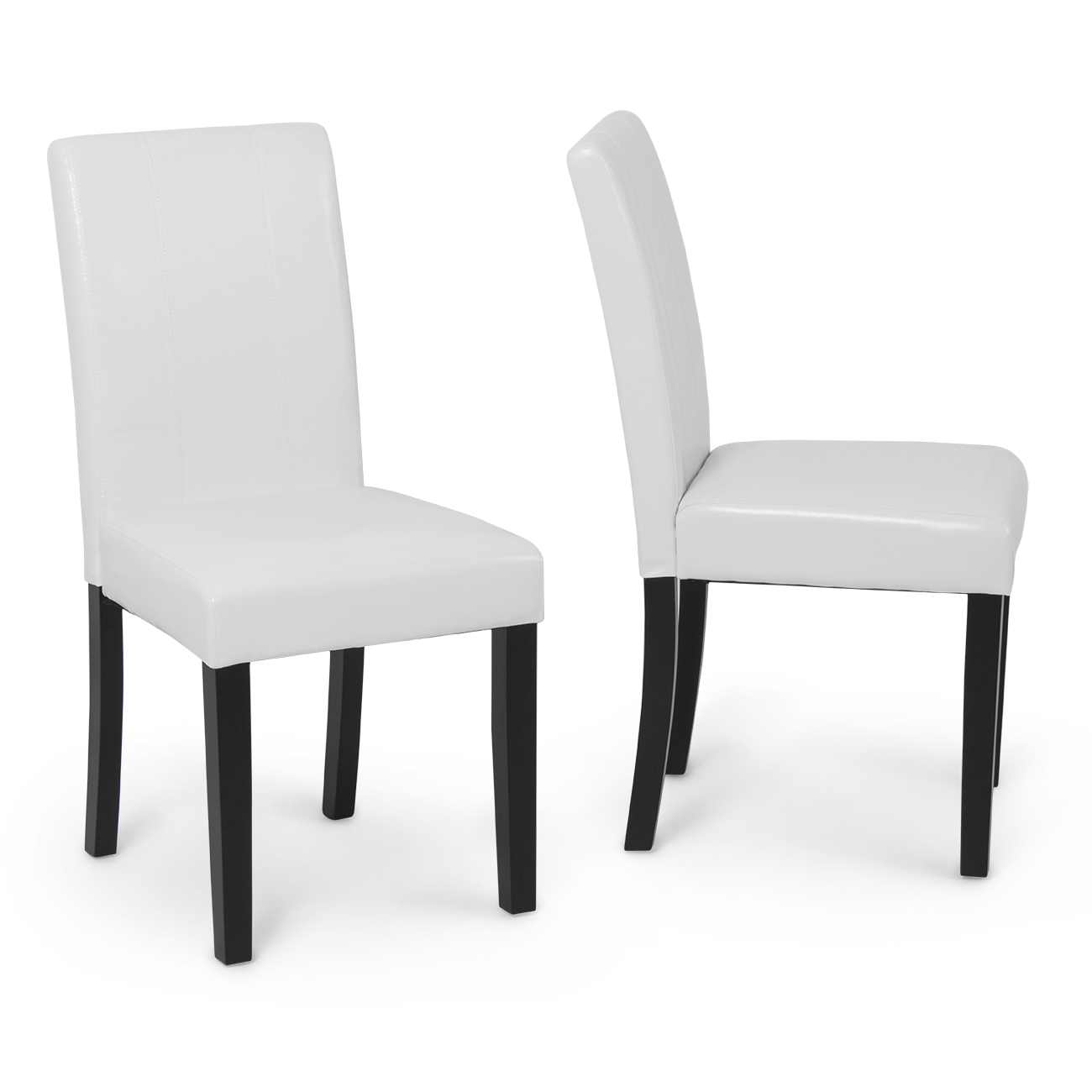 White Modern Dining Chairs Set Of 2 Elegant Design Modern White Leather Parson Dining