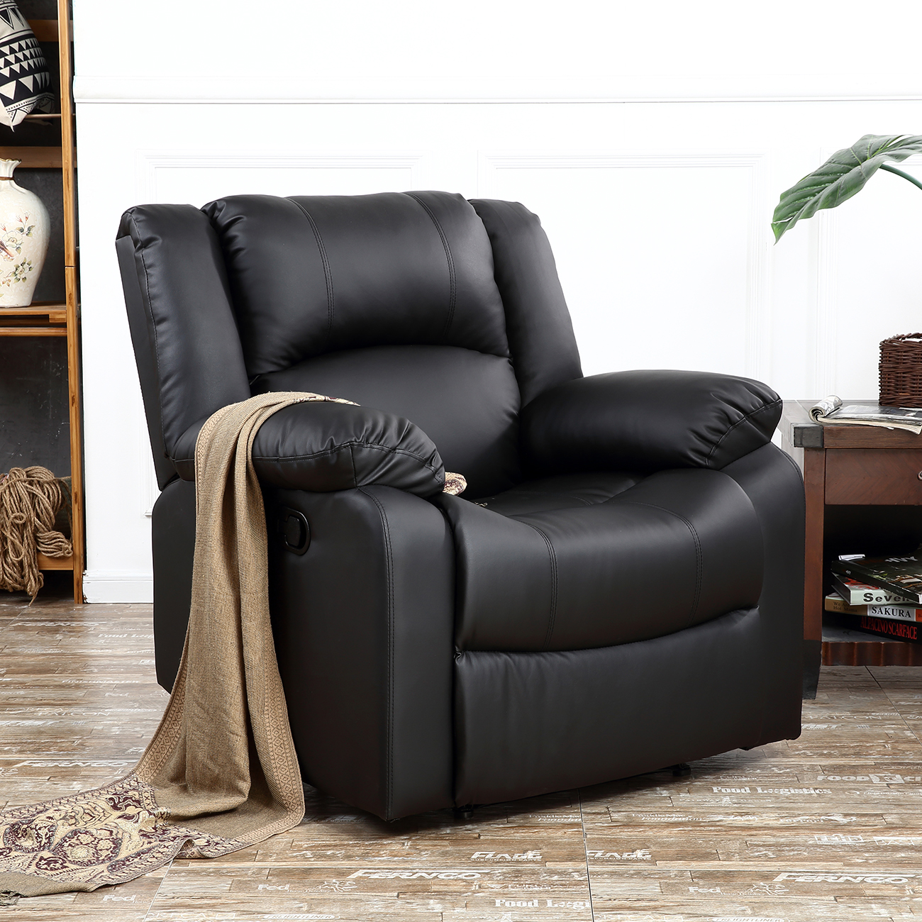 Recliner Chairs For Living Room Dark Brown  Black Leather