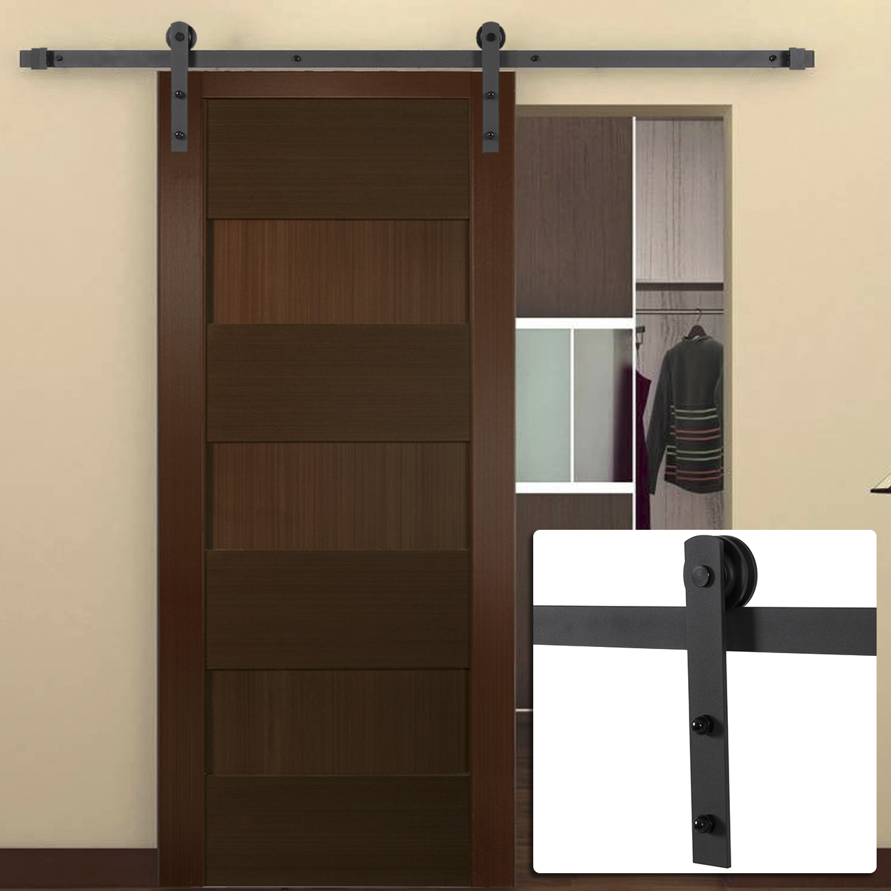 6FT Antique Country Style Steel Sliding Barn Door Closet Hardware Frosted Black  eBay