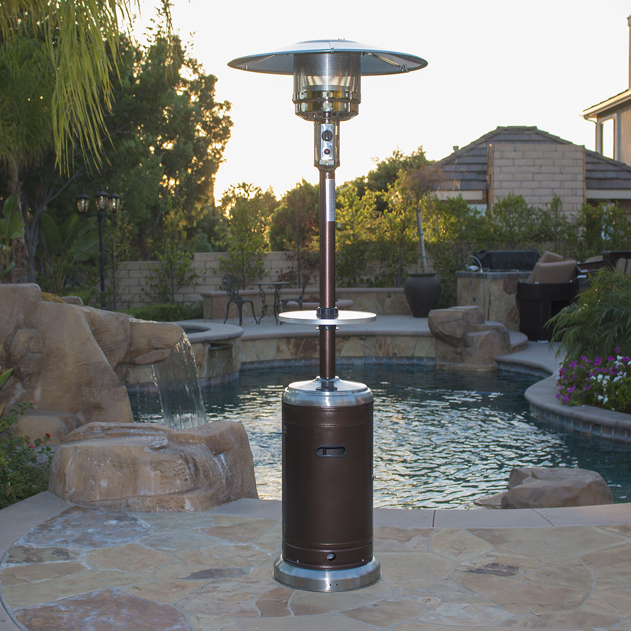Garden Outdoor Patio Heater w Table Propane Standing lpg