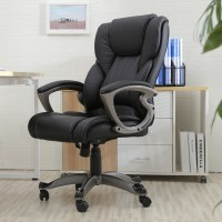 Black PU Leather High Back Office Chair Executive Task ...