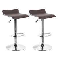2 Modern Bar Stools PU Leather Adjustable Swivel Hydraulic ...
