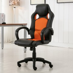Race Car Desk Chair Black White Accent High Back Style Bucket Seat Office