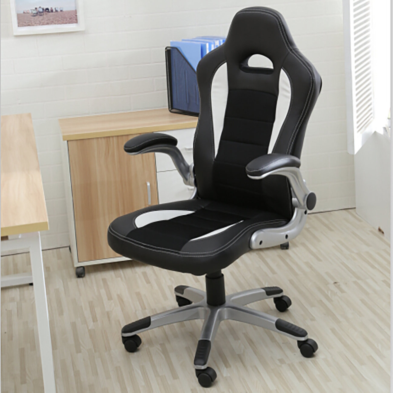 leather bucket chair swivel no casters office ergonomic computer pu desk race car