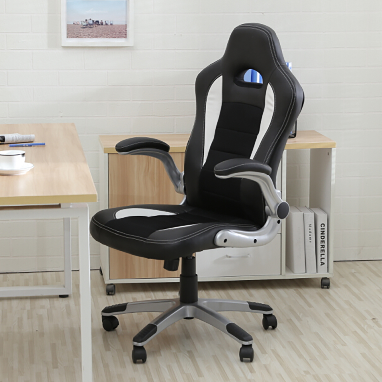 leather bucket chair swivel joint office ergonomic computer pu desk race car