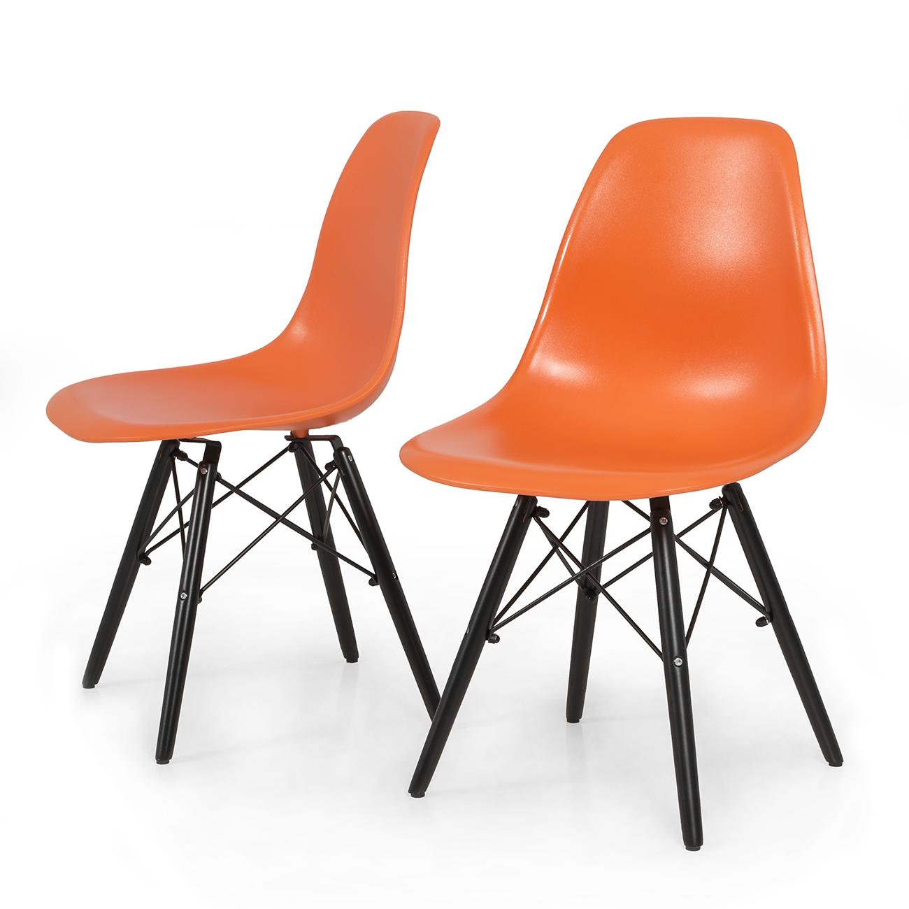 eames style plastic chair oak fabric dining chairs 2x dsw molded abs side eiffel dowel wood leg