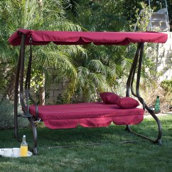 Hammock Chair With Canopy Deck Glides 3 Person Outdoor Swing W Seat Patio