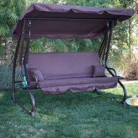 3 Person Outdoor Swing W/Canopy Seat Patio Hammock ...