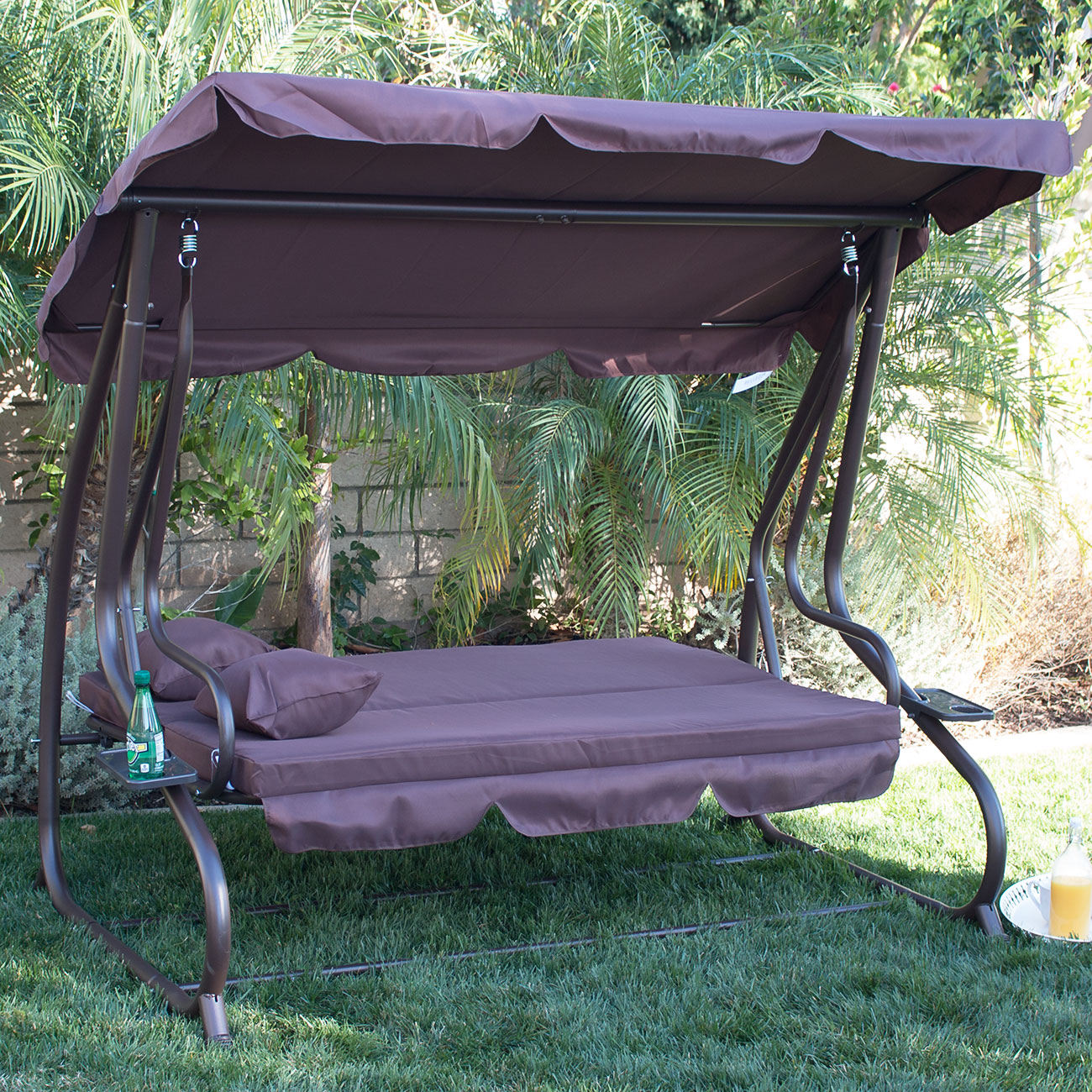 Patio Swing Chair 3 Person Outdoor Swing W Canopy Seat Patio Hammock