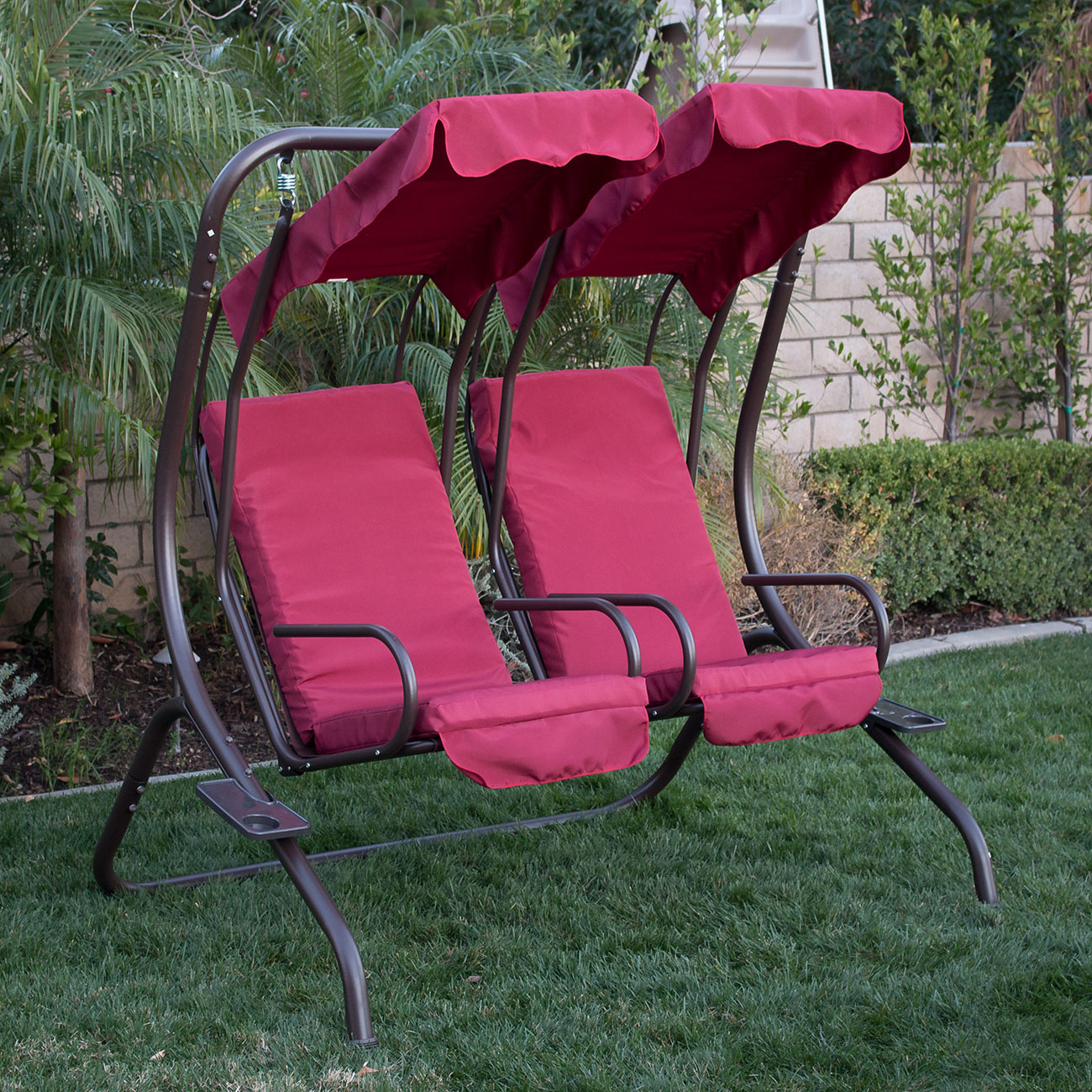 swing chair over canyon how to build a new outdoor set 2 person patio frame padded seat
