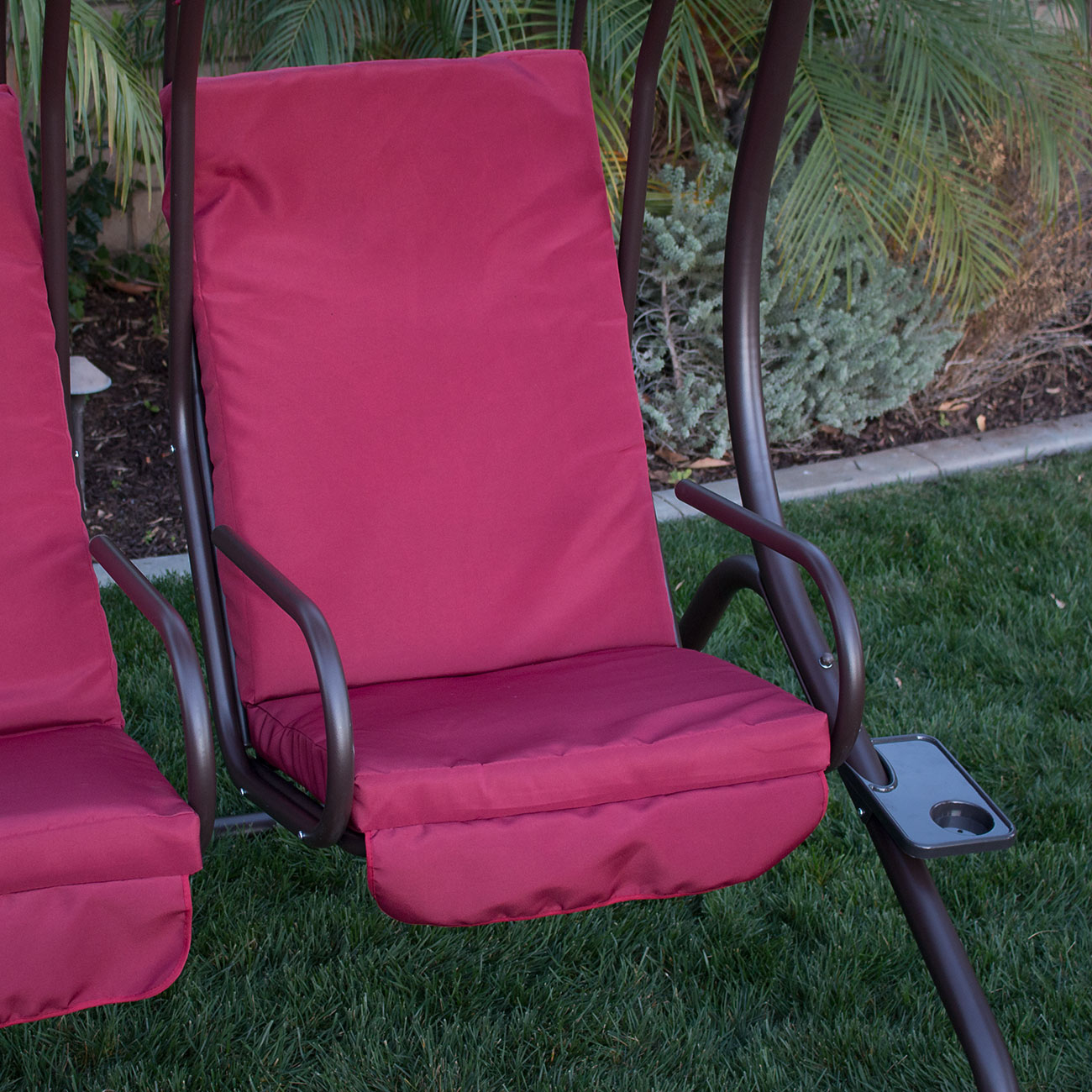 swing chair over canyon pvc patio chairs new outdoor set 2 person frame padded seat