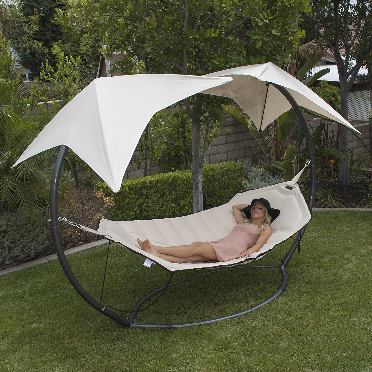 Swinging Hammock Bed Frame Stand Outdoor Sun Shade W 2