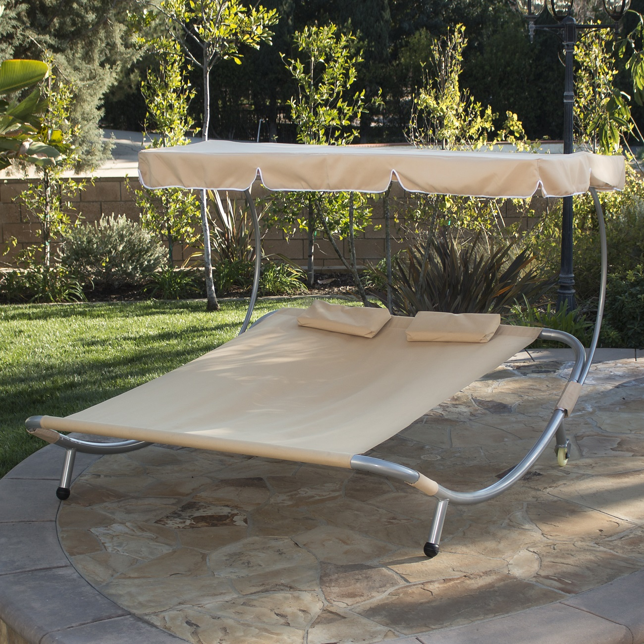 hammock chair with canopy patio covers canada new bed lounger double pool chaise lounge