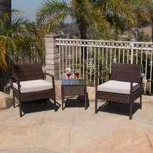 3pc Rattan Wicker Bistro Sofa Set Coffee Table Chair