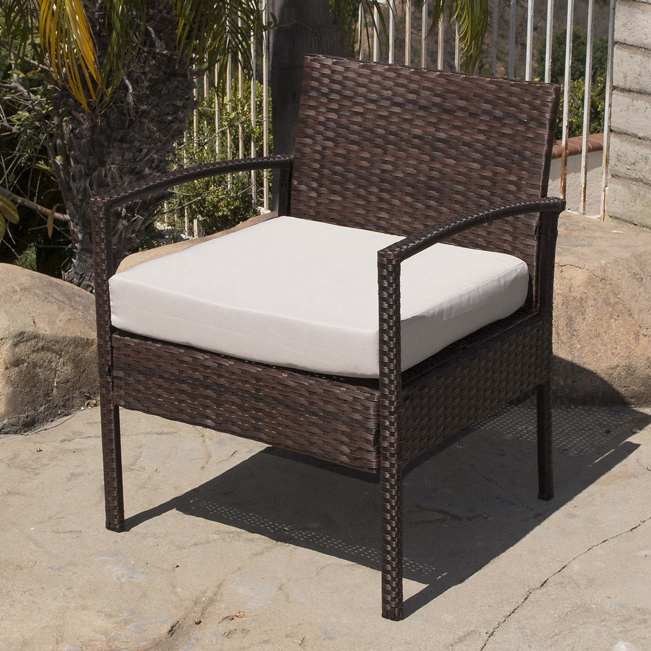 Outdoor Chair Set 4pc Rattan Wicker Patio Furniture Set Sofa Chair 43table