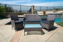 4pc Patio Furniture Set Pe Wicker Cushioned Outdoor Rattan