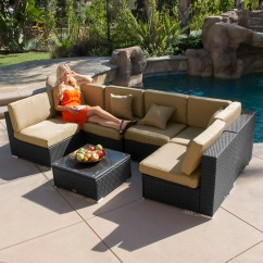 Black Aluminum Outdoor Sofa Sectional Sleeper Chicago 7pc Patio Rattan Wicker Furniture