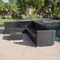 Black Aluminum Outdoor Sofa Distressed Brown Leather 7pc Patio Rattan Wicker Furniture
