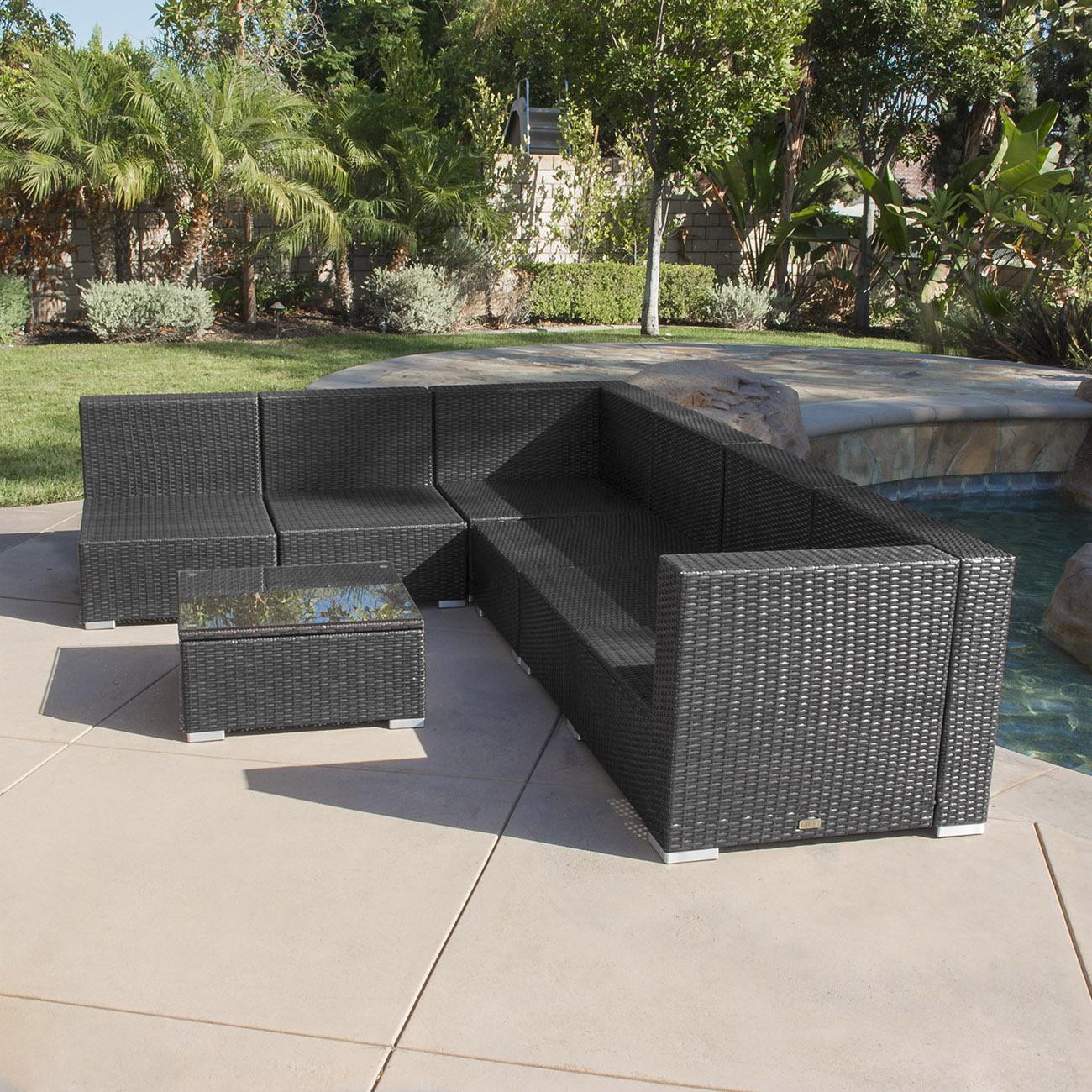 outdoor wicker sofa cushions boston red sox detroit tigers sofascore 7pc patio rattan furniture aluminum