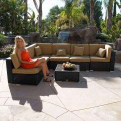 Black Aluminum Outdoor Sofa Sectional Seattle 7pc Patio Rattan Wicker Furniture