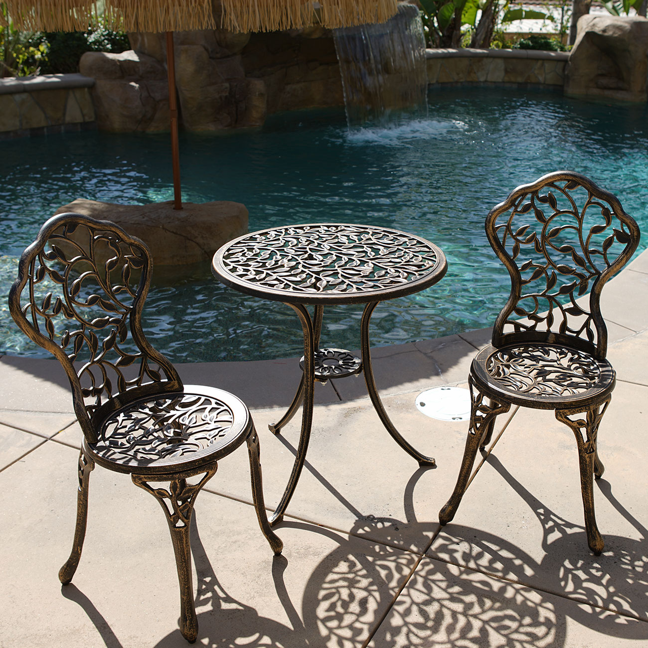 Outdoor Chair Set 3pc Bistro Set In Antique Outdoor Patio Furniture Leaf