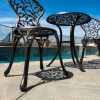 3PC Bistro Set in Antique Outdoor Patio Furniture Leaf ...