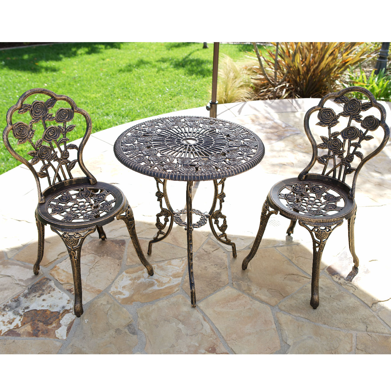 Outdoor Chair Set 3pcs Outdoor Patio Furniture Cast Aluminum Bistro Set
