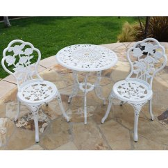 White Bistro Chairs Side For Dining 3pcs Outdoor Patio Furniture Cast Aluminum Set