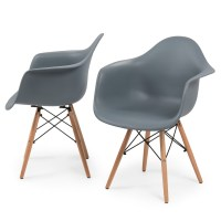 NEW Set of (2) Eames DSW Mid-Century Dining Arm Chair ...