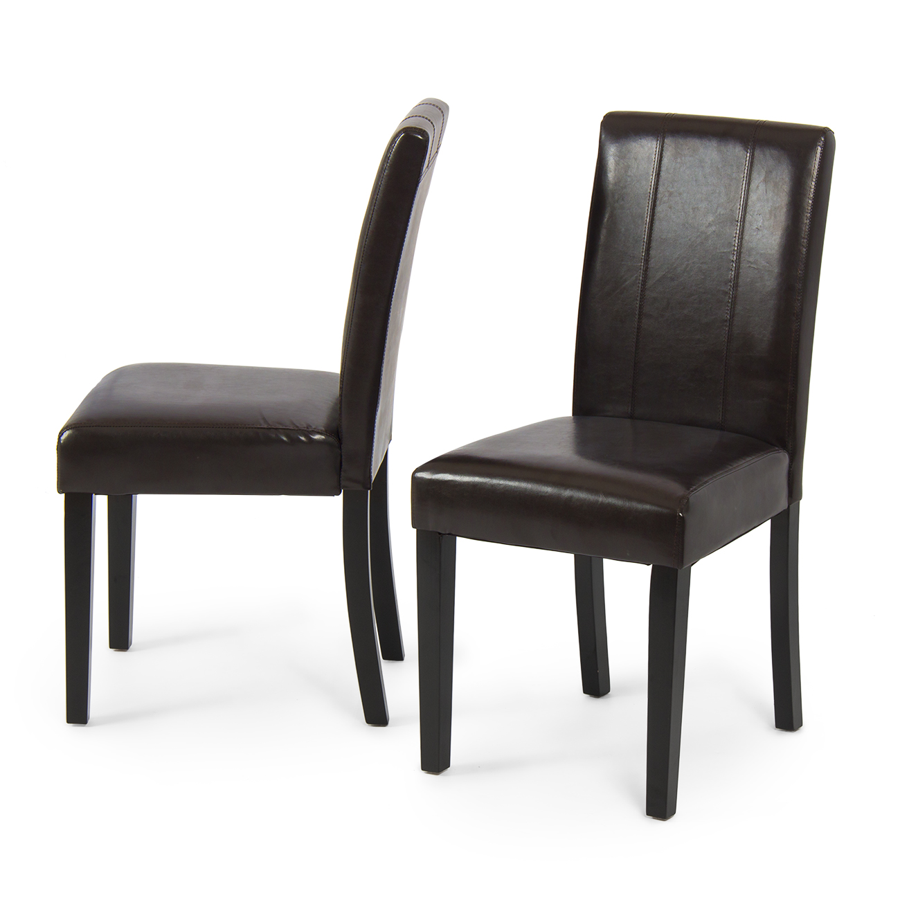 Elegant Chairs Set Of 2 Elegant Modern Design Leather Parsons Dining