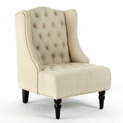 Tufted Nailhead Chair Vintage Office New Modern Wingback Accent Diamond Linen