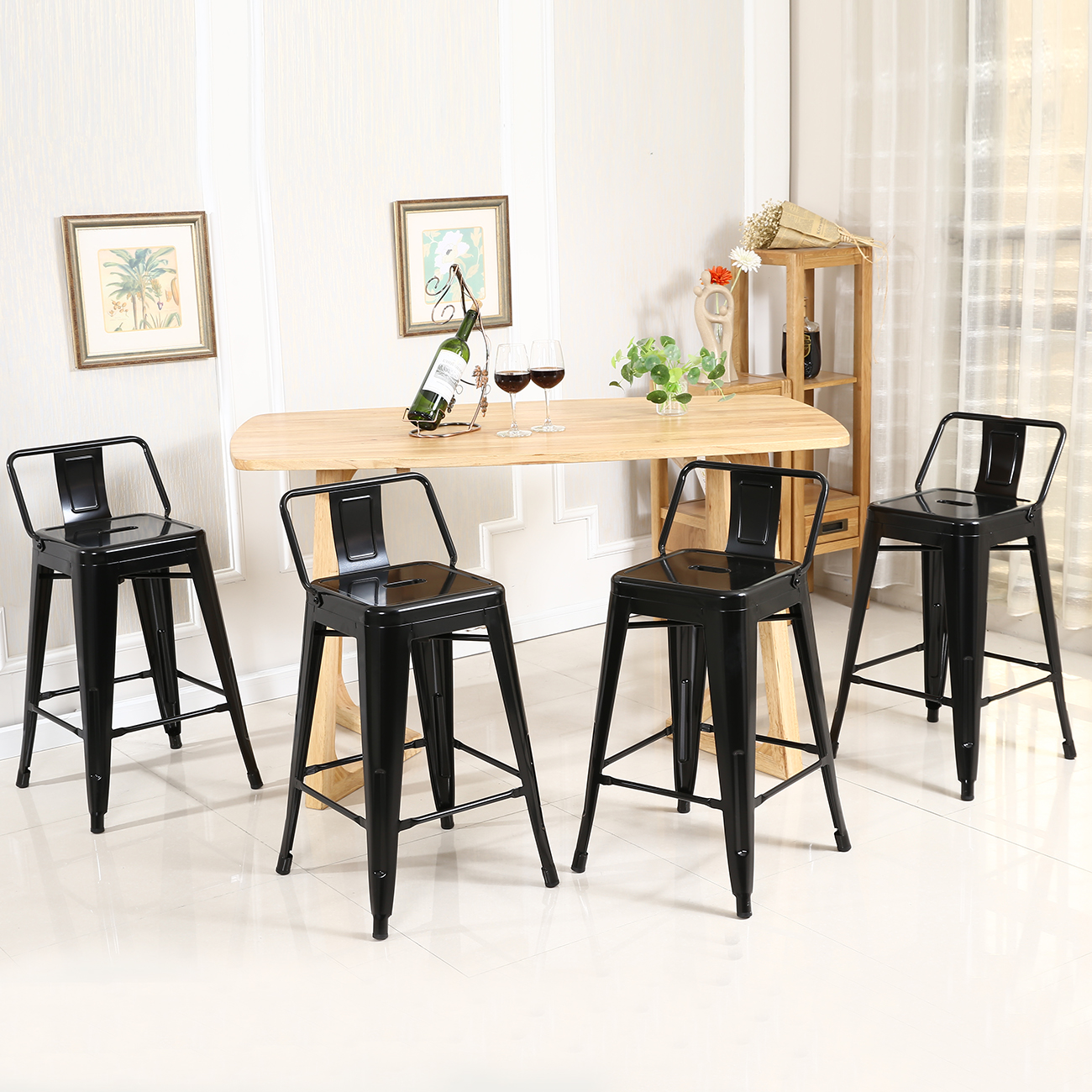 Metal Counter Height Chairs 24 39 39 High Black Steel Indoor Outdoor Counter Height Stool