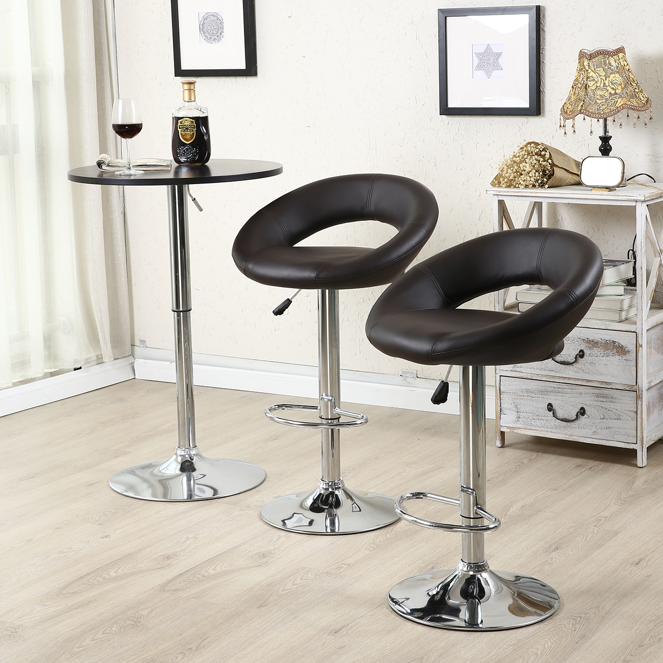 leather pub chair cover hire worcestershire set of 2 bar stool modern hydraulic swivel dinning
