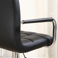 Leather Pub Chair High Backed Chairs With Arms 2 Bar Stools Modern Hydraulic Swivel Pair