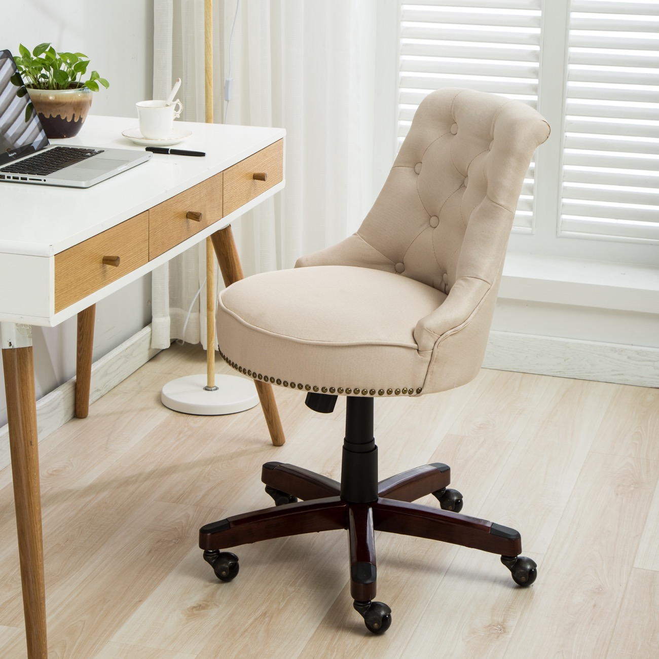 Linen Office Chair Details About Beige Home Office Chair Tufted Linen Height Adjustble Tilt Swivel