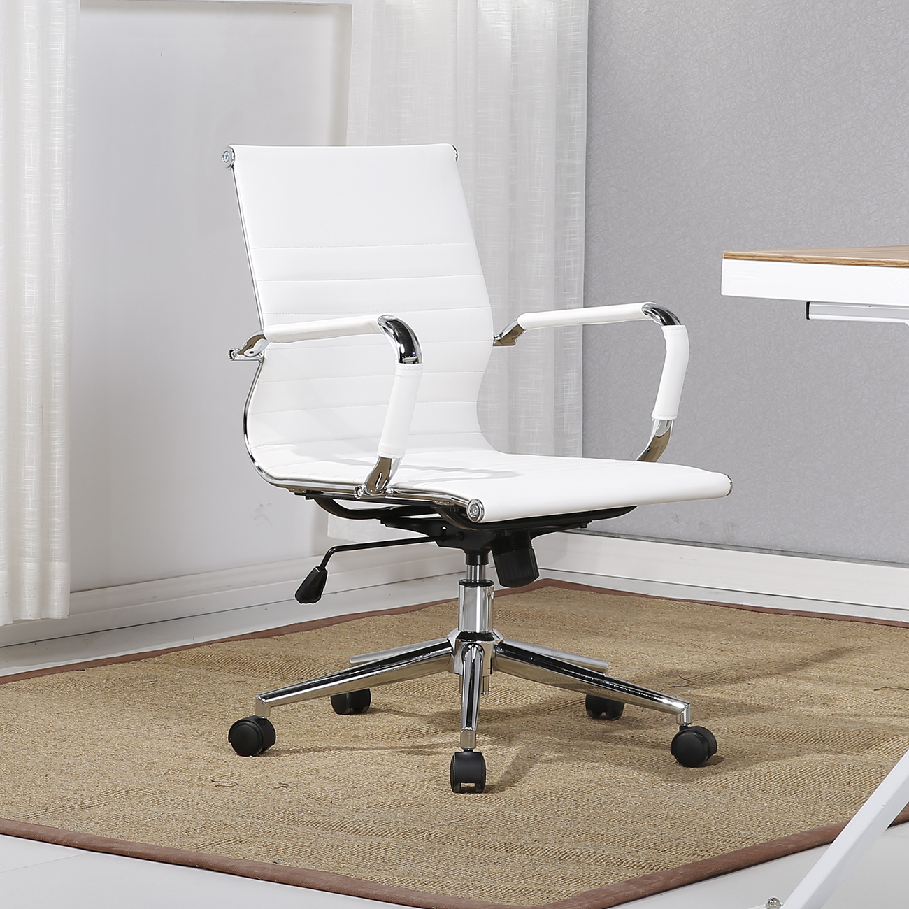 MidBack Ribbed Faux Leather Swivel Conference office Desk
