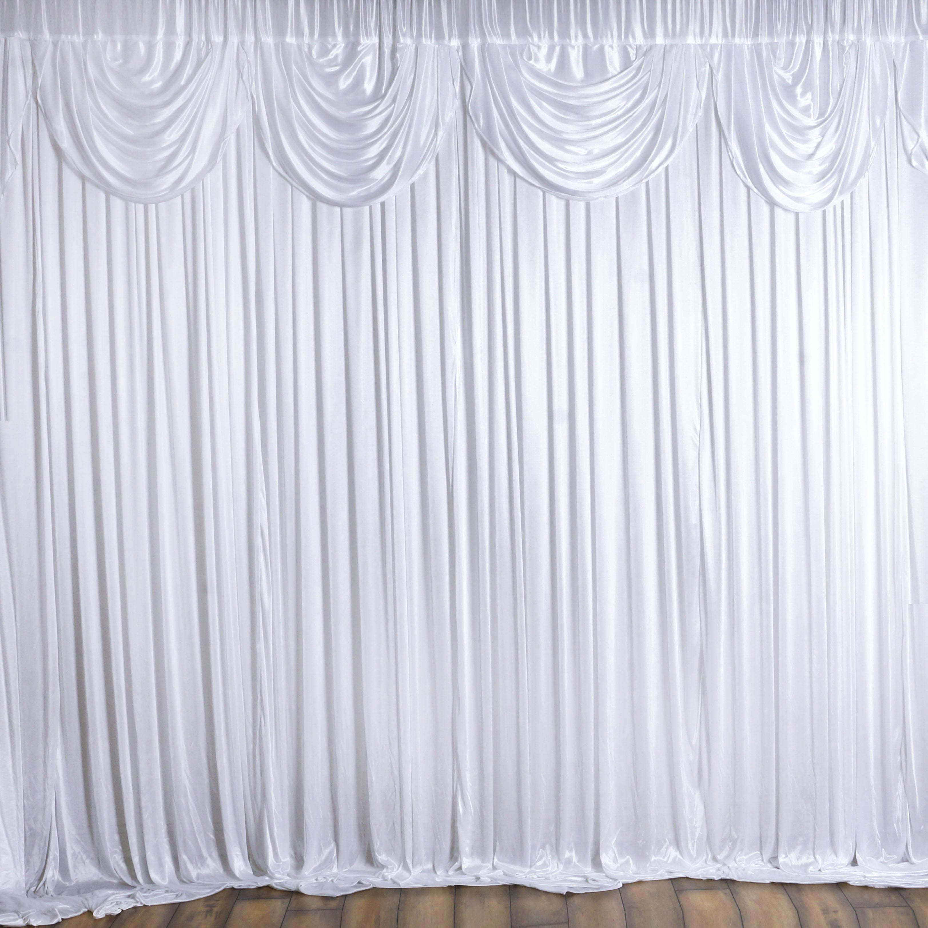 20ft X 10ft White Satin Valance Classic Backdrop Photo