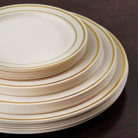 "Plastic 6"" ROUND PLATES with Trim Party Wedding Catering ..."