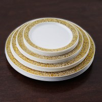 "Plastic 10.25"" ROUND PLATES Lacey Trim Party Wedding"