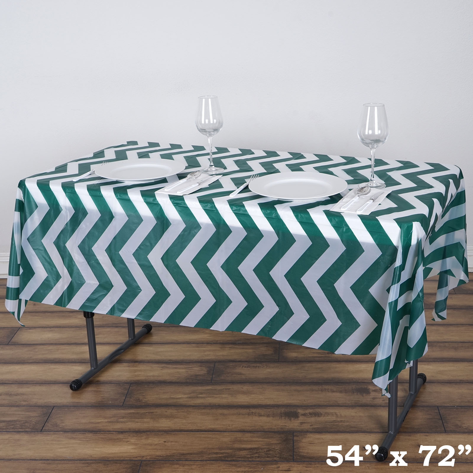 disposable plastic chair covers for parties modern leather dining chairs with arms table 54x72 in chevron