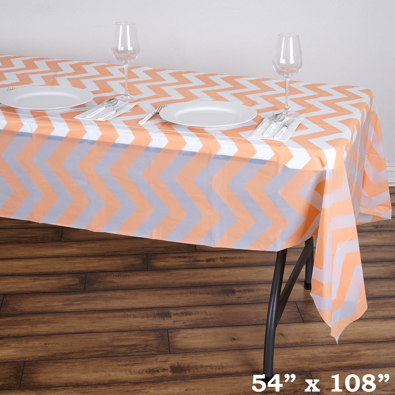 disposable plastic chair covers for parties gold lycra table 54x108 in chevron