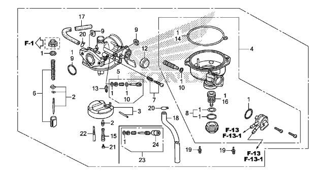 GENUINE HONDA OEM CARBURETOR SPORTRAX TRX90 ATV, Side-by