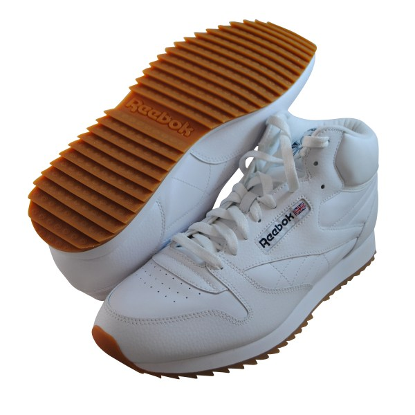 Reebok Mens Cl Leather Mid Ripple Gum White Fashion