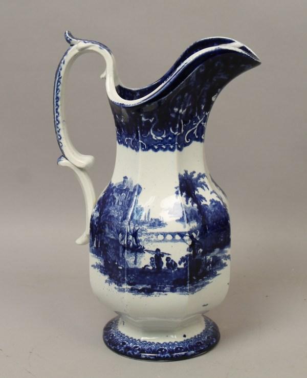 Antique 19c English Large Flow Blue Tivoli Ironstone
