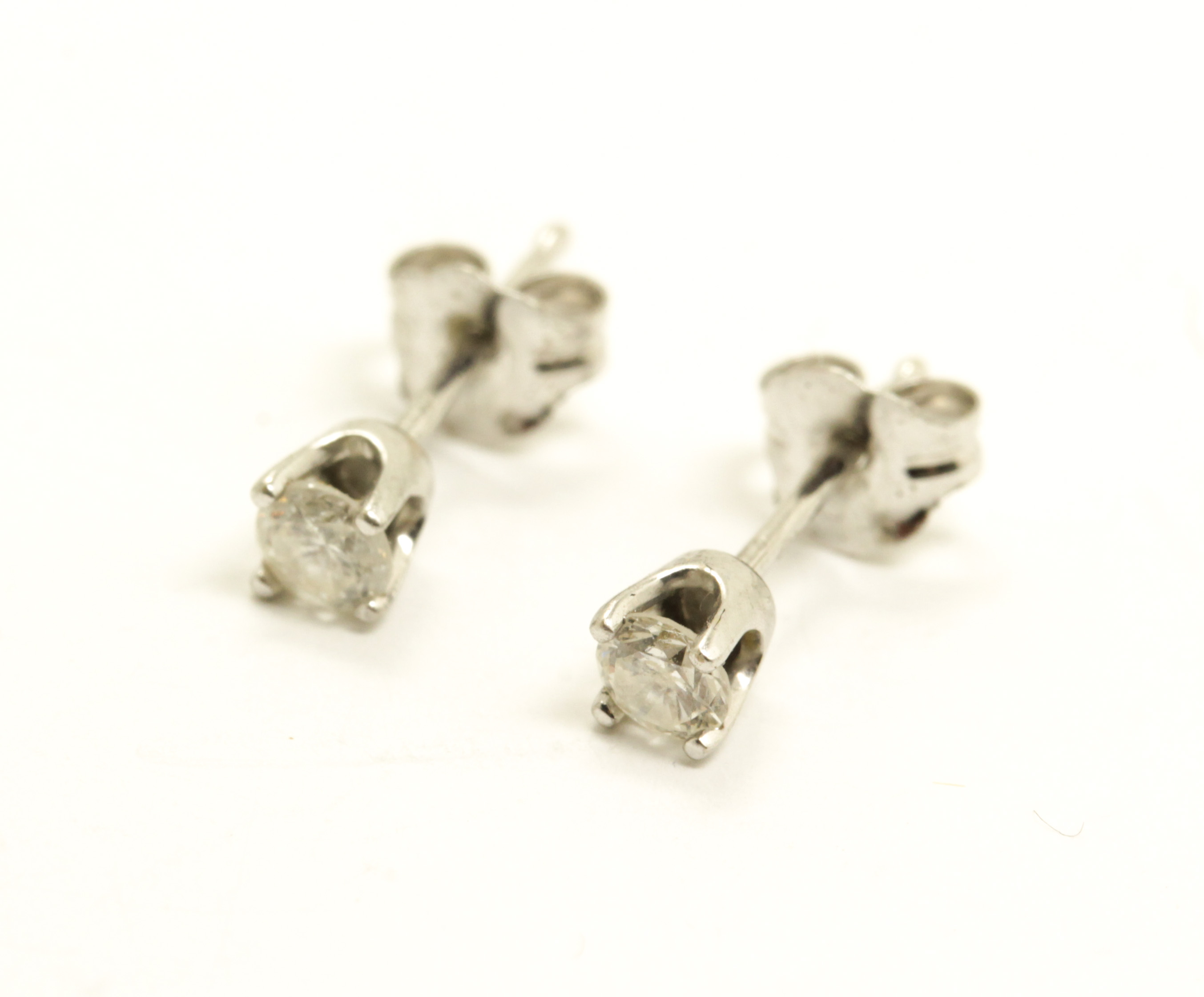 Fine Estate Found Pair 14k White Gold Diamond Stud