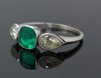 Vintage 1930s Platinum Diamond Colombian Emerald Ring GIA ...