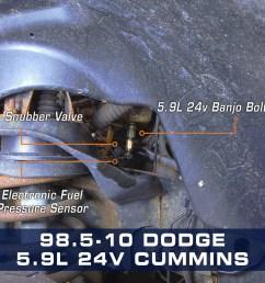 5 9l 24v cummins fuel pressure banjo bolt adapter [ 1000 x 1000 Pixel ]