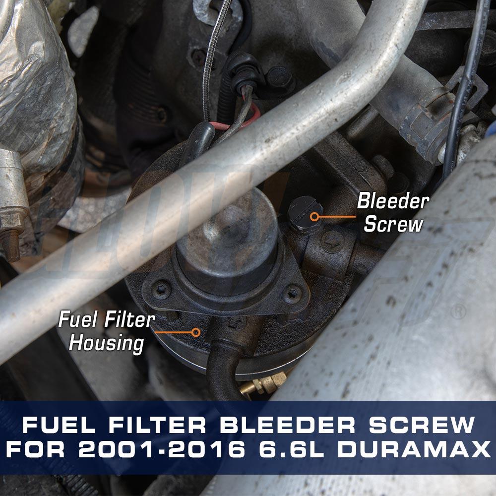 hight resolution of glowshift fuel filter housing bleeder screw for 2001 2016 gm 6 6lfuel filter bleeder screw for